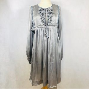 Malene Birger Babydoll Silk PomPom Dress